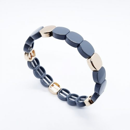 Enamel Metal Beads Bracelet Grey