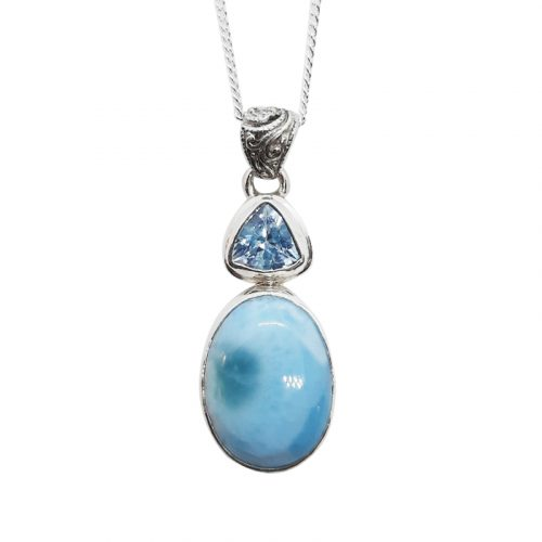 Larimar and Blue Topaz Silver Necklace