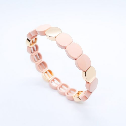 Enamel Metal Beads Bracelet Peach