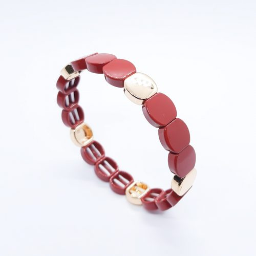 Enamel Metal Beads Bracelet Red