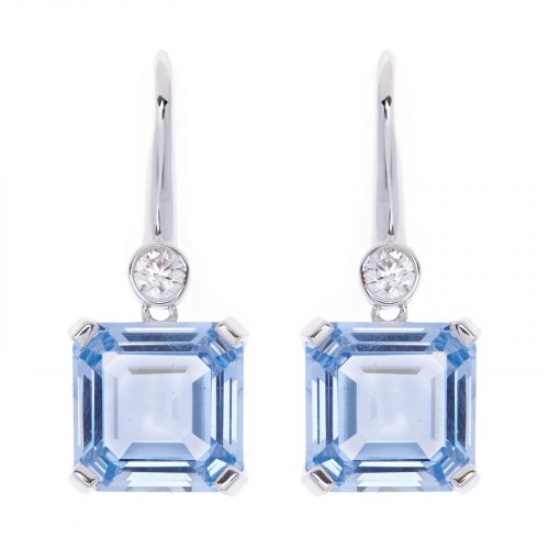 SQUARE BLUE CZ SILVER EARRINGS
