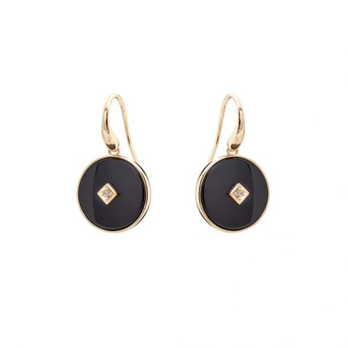 ROUND BLACK CERAMIC EARRINGS YELLOW GOLD