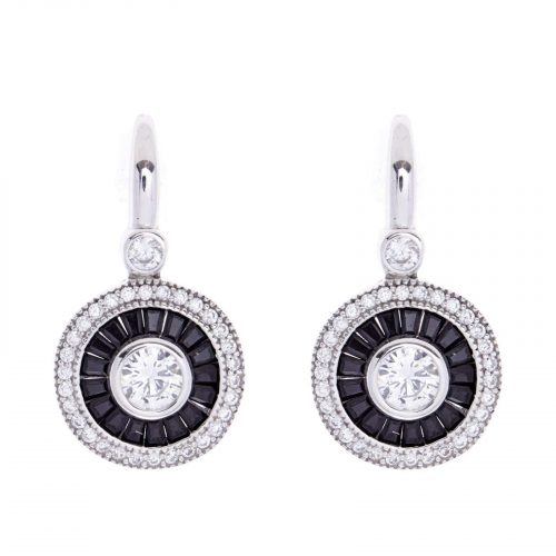 ROUND BLACK & CLEAR CZ EARRINGS