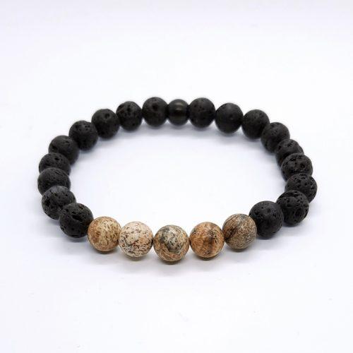 Lava and Jasper Beads Bracelet