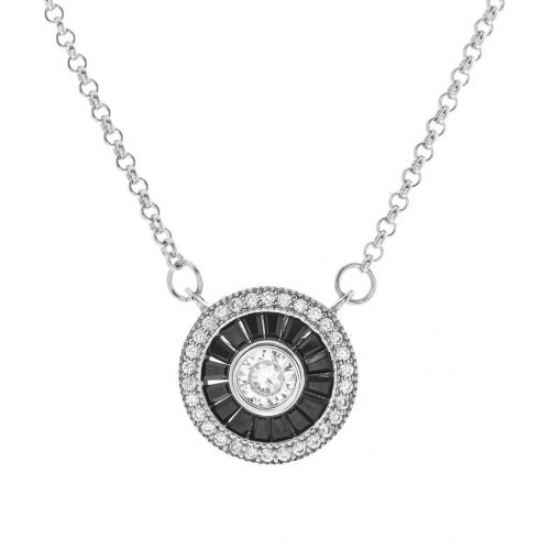 ROUND BLACK & CLEAR CZ NECKLACE