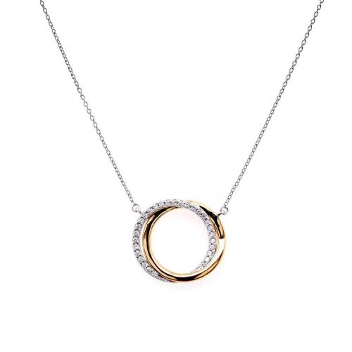 TWO TONE CZ CIRCLE PENDANT