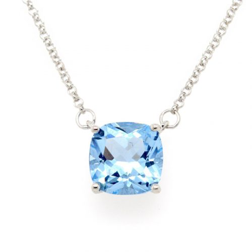 SQUARE BLUE CZ NECKLACE