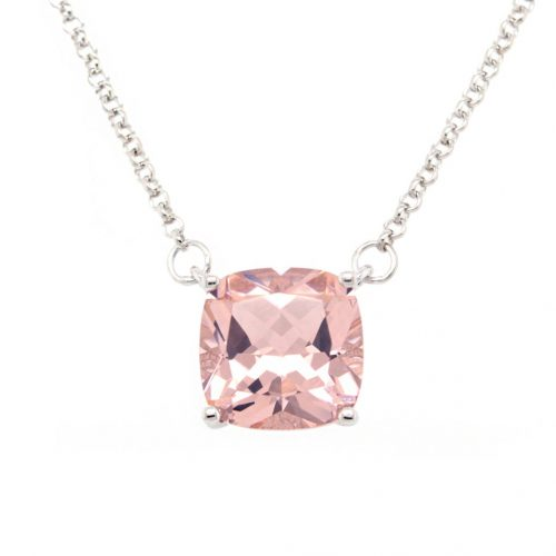SQUARE PINK CZ NECKLACE