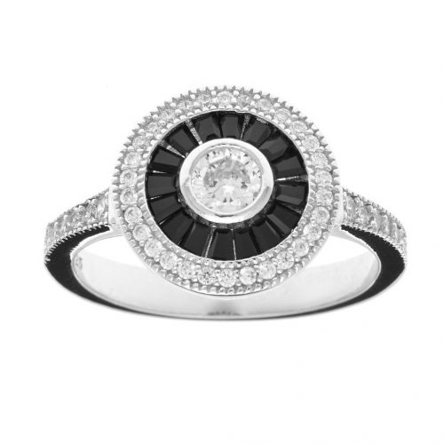 ROUND BLACK & CLEAR CZ DRESS RING