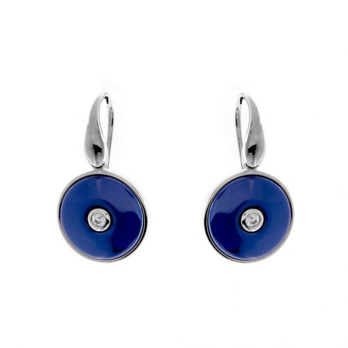 ROUND BLUE CERAMIC EARRINGS