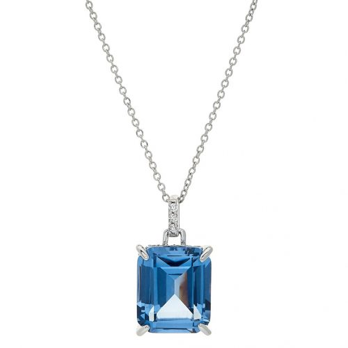 AQUA AND WHITE CZ NECKLACE