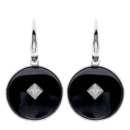 ROUND BLACK CERAMIC EARRINGS WHITE GOLD