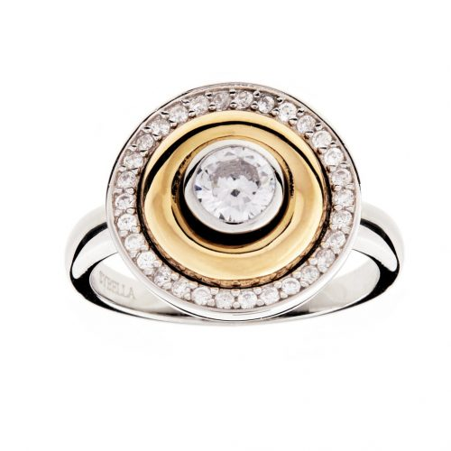 ROUND SILVER & YELLOW GOLD RING