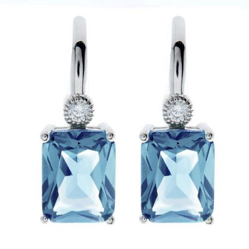 BAGUETTE BLUE SILVER EARRINGS