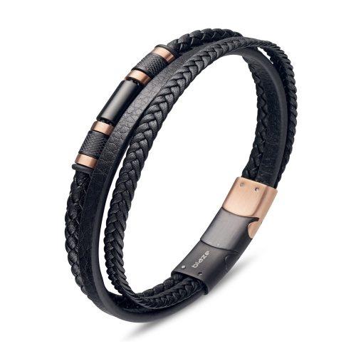 Multi Strand Leather Bracelet Rose Gold