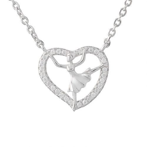Silver Ballerina Love Heart Necklace