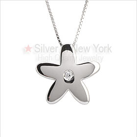 Forget Me Not Flower Silver Necklace