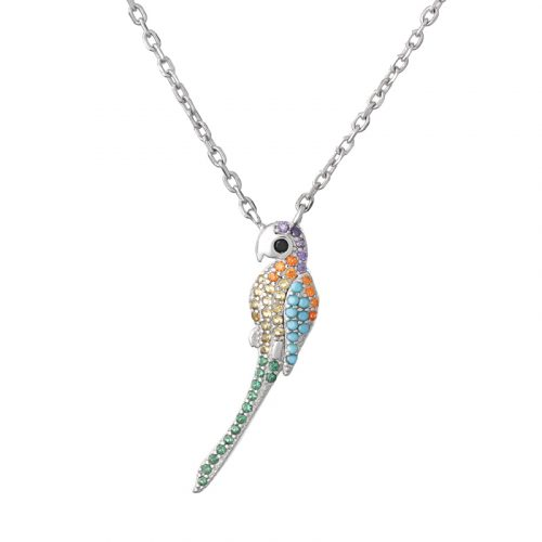 Silver Colourful Perrot Necklace
