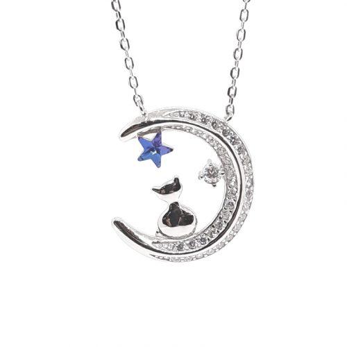 Moonlight Cat Silver Necklace