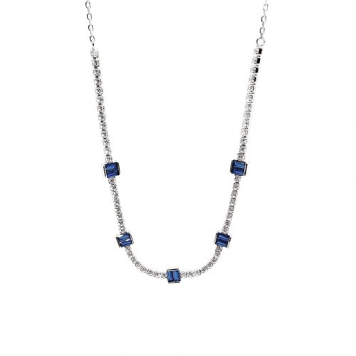 Sterling Silver Blue CZ Tennis Necklace