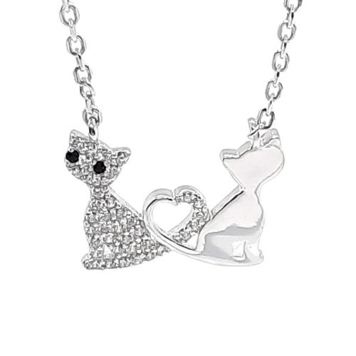 Love Cat Silver Necklace