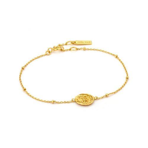 Gold Emblem Beaded Bracelet