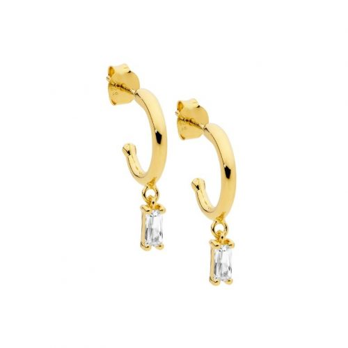 Baguette CZ pendant hoop Earrings Yellow Gold