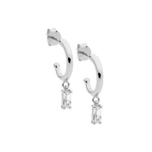 Baguette CZ pendant hoop Earrings White Gold
