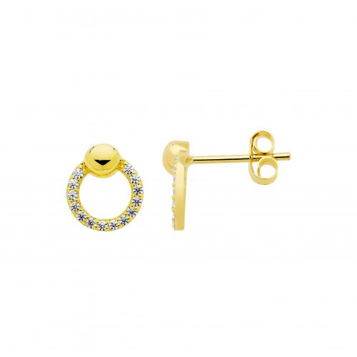 CZ Paved Open Circle Stud Earrings Yellow