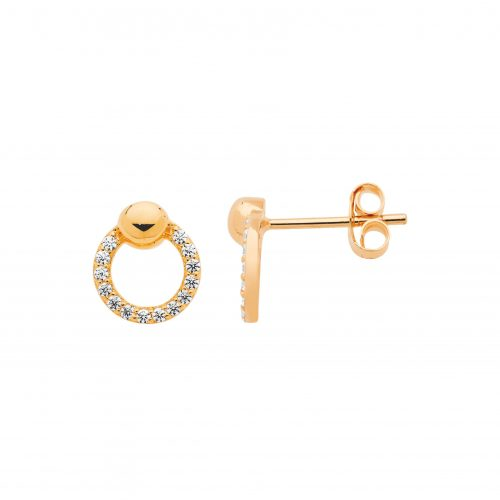 CZ Paved Open Circle Stud Earrings Rose Gold