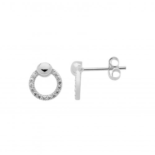 CZ Paved Open Circle Stud Earrings White Gold