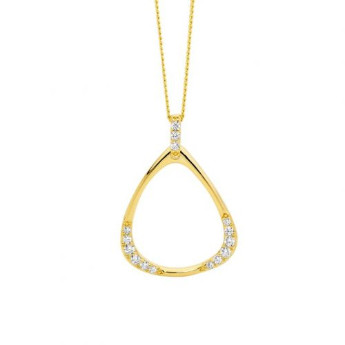 Sterling Silver Open Pear Shape Necklace Yellow Gold