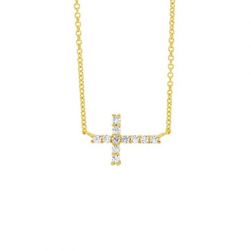 Sterling Silver Laid Cross Necklace Yellow Gold