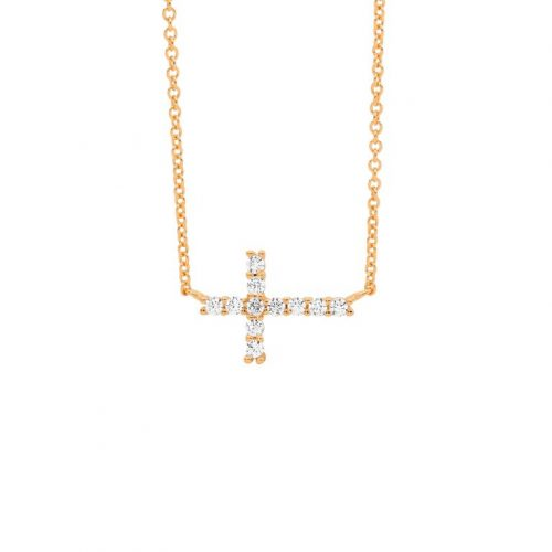 Sterling Silver Laid Cross Necklace Rose Gold