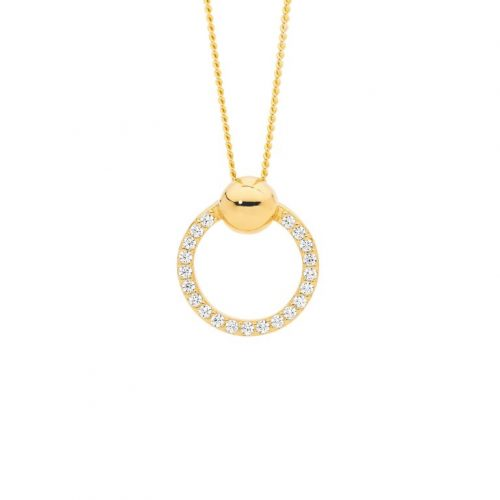 Open Circle Round Silver Necklace Yellow Gold