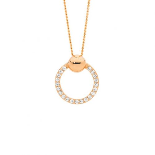Open Circle Round Silver Necklace Rose Gold