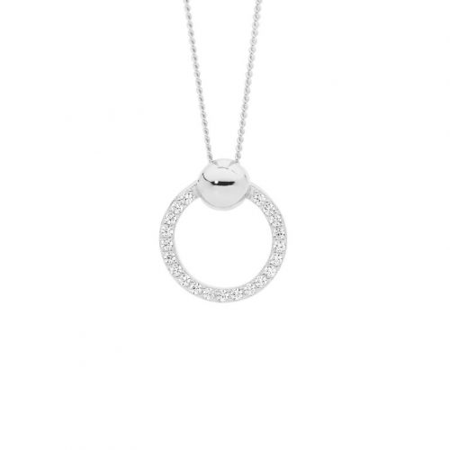 Open Circle Round Silver Necklace