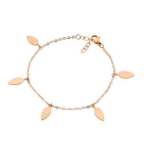 Stainless Steel Leaves Charm Bracelet Rose Gold