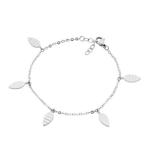 Stainless Steel Leaves Charm Bracelet