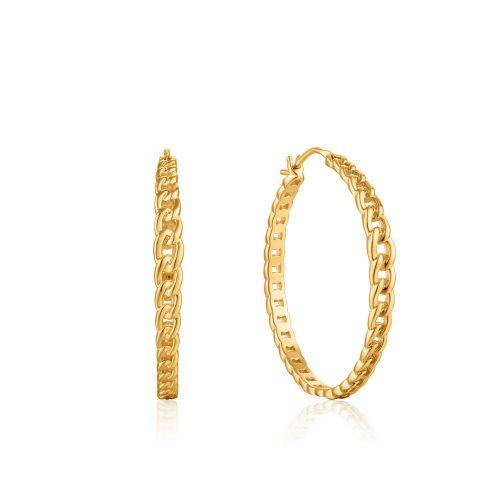 Gold Curb Chain Hoop Earrings