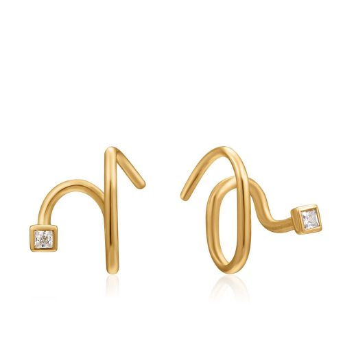 Gold Twist Square Sparkle Earrings