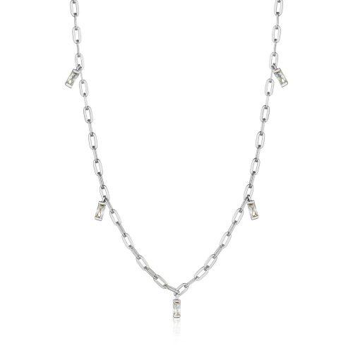 Silver Glow Drop Necklace