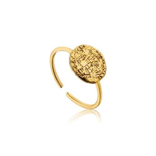 Gold Emblem Adjustable Ring