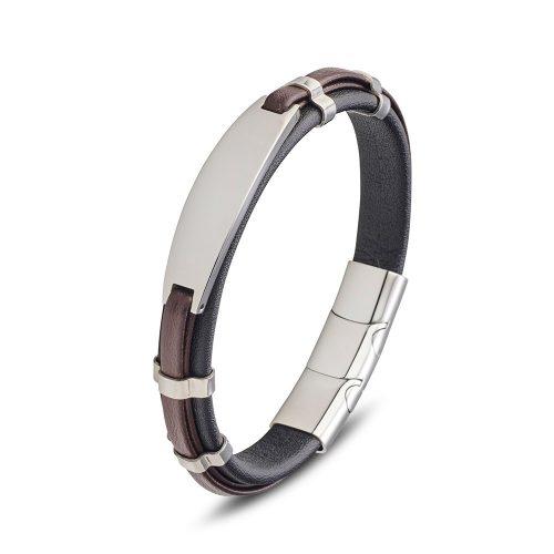 Leather bangle ID Bracelet