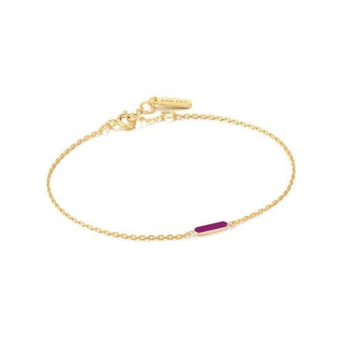 Berry Enamel Bar Gold Bracelet