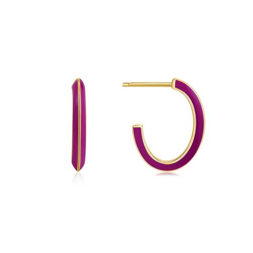 Berry Enamel Thick Gold Hoop Earrings