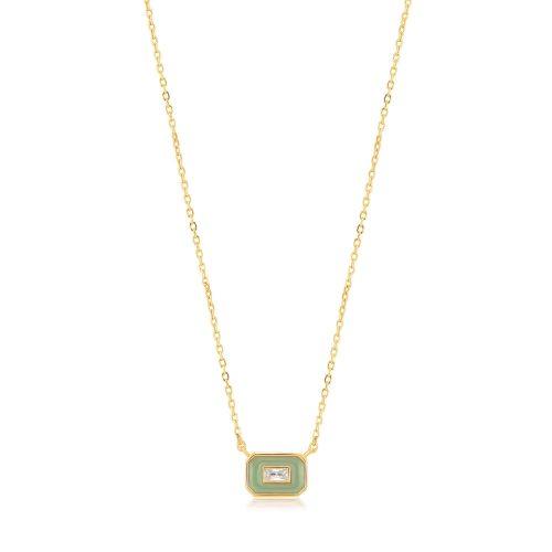 Sage Enamel Emblem Gold Necklace