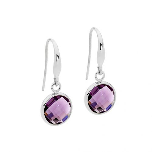 Amethyst Colour Crystal Stainless Steel Earrings Round