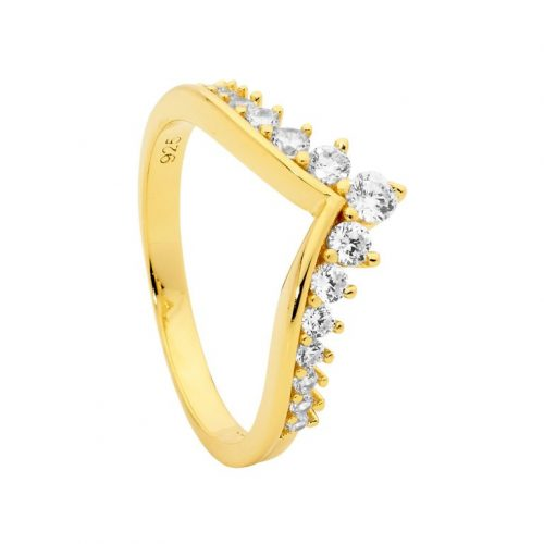 Yellow Gold Plated Wishbone Silver CZ Ring