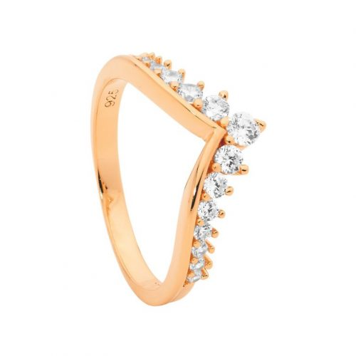 Rose Gold Plated Wishbone Silver CZ Ring
